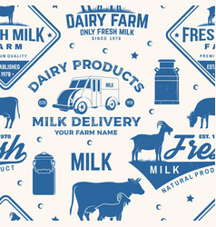 milk farm seamless pattern or background vector image