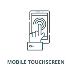 mobile touchscreen line icon linear vector image