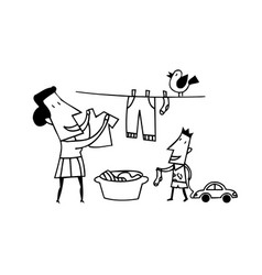 Mom clothes drying outlined cartoon handrawn vector