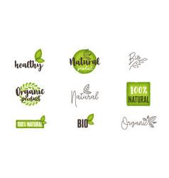 natural organic bio food labels and logos set vector image