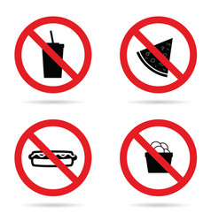 no fast food sign set vector image