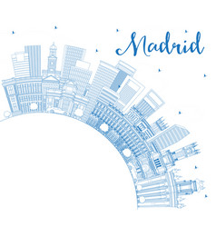 outline madrid spain city skyline with blue vector image