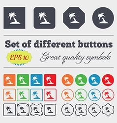 Palm Tree Travel trip icon sign Big set of vector