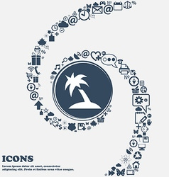 Palm tree travel trip icon sign in the center vector