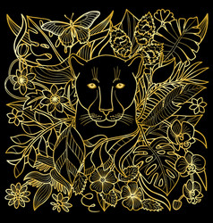 panther golden pattern vector image