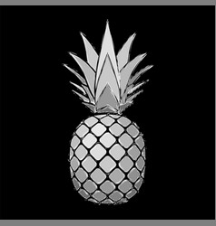 Pineapple grunge with leaf tropical exotic fruit vector