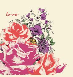 pink roses corner decoration over violets bouquet vector image