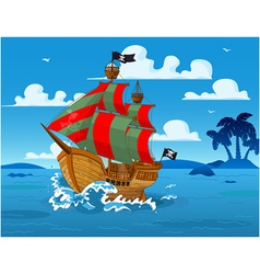 Pirate ship at sea vector image