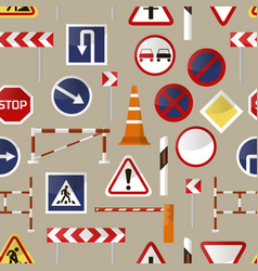 road barriers and signs pattern vector image