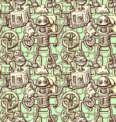robots seamless pattern vector image