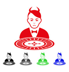 Sad devil roulette dealer icon vector