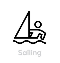 sailing sport icons vector image