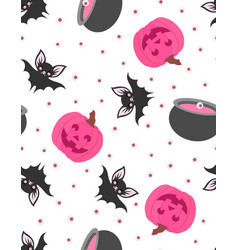 seamless cute pattern with pumpkin bat and pot vector image