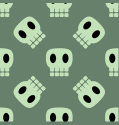 seamless dark pattern with skulls green background vector image