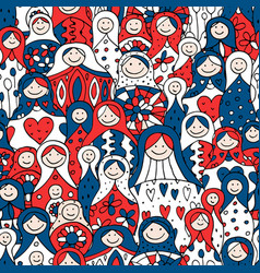 Seamless pattern with russian nesting dolls vector