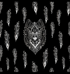 Seamless pattern with tribal ethnic wolf vector