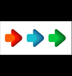 set arrow right line red green color blue round vector image