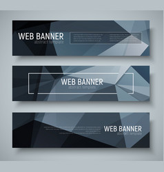 set of horizontal banners with abstract black vector image