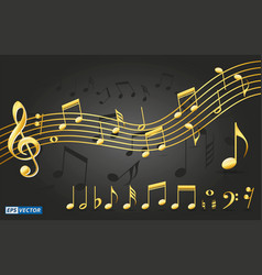 set of realistic gold musical notes vector image
