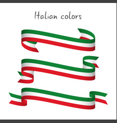 set of three ribbons with the italian tricolor vector image