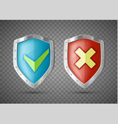 shields icons with green check mark and cross vector image