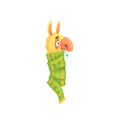 Sick llama character wrapped green scarf with vector