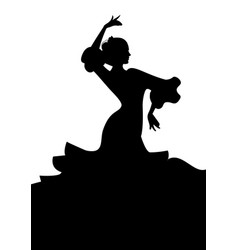 Silhouette of typical spanish flamenco dancer vector