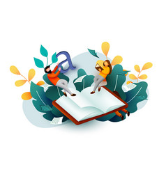 small reading people flying above book education vector image