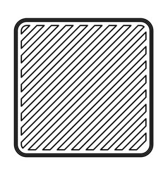 Square emblem in monochrome contour and striped vector