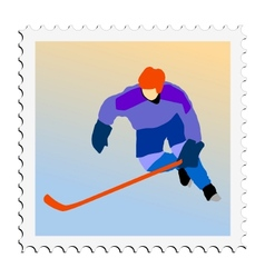 Stamp with image of hockey vector