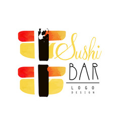Sushi bar logo design badge for restaurants of vector