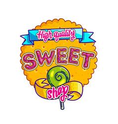 sweet shop hand drawn logo design vector image