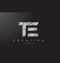 Te t e letter logo with zebra lines texture vector