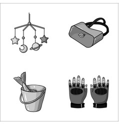 Technology fishing and other monochrome icon in vector