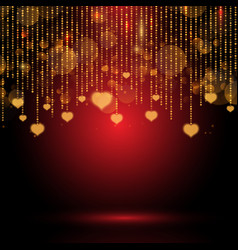 Valentines day background with hanging hearts vector