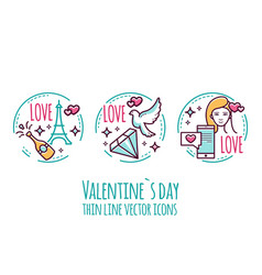 valentines day icons stamp sticker label vector image