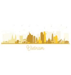 vietnam city skyline silhouette with golden vector image
