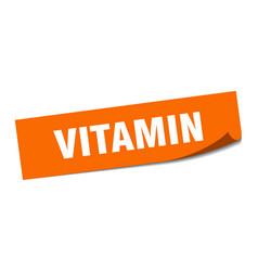 Vitamin sticker vitamin square sign vitamin peeler vector
