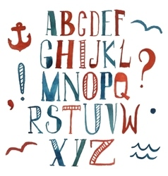 watercolor alphabet in marine style vector image