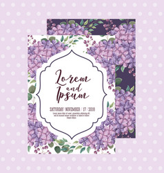 wedding invitation card template with flowers vector image