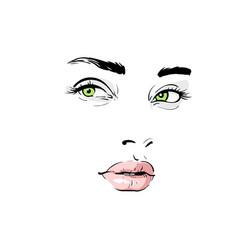 Woman face portrait outlines digital sketch vector