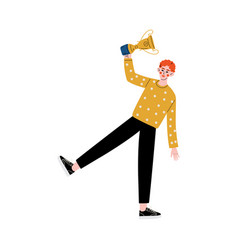 young man with winner cup happy guy celebrating vector image