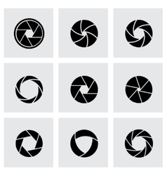 black canera shutter icon set vector image