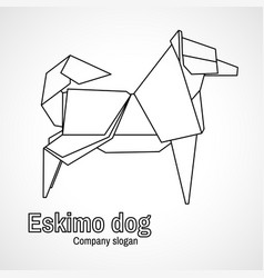 outline origami dog vector image