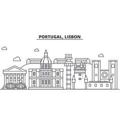 Portugal lisbon architecture line skyline vector
