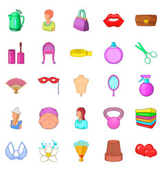 women things icons set cartoon style vector image
