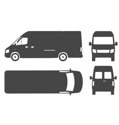 Commercial van bus silhouette icon vector image
