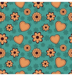 Flowers and Hearts Seamless Pattern vector image vector image