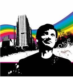 grunge city man vector image vector image