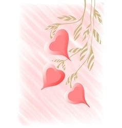 Hand drawing twig with hearts background vector image